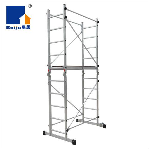 瑞居折叠铝合金快装脚手架 移动便携工程装修爬梯平台升降拉伸脚手架